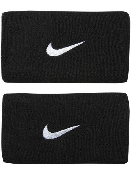 Frotki Tenisowe na nadgarstki Nike Swoosh Double-Wide Wristbands - black/white