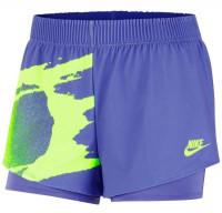 Damskie spodenki tenisowe Nike Court Slam Short NY - sapphire/hot lime