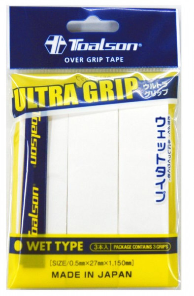 Tenisa overgripu Toalson UltraGrip 3P - white