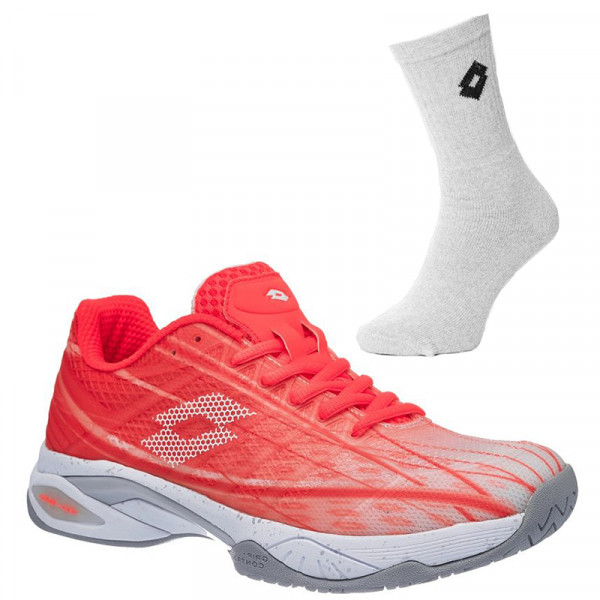 Damskie buty tenisowe Lotto Mirage 300 Speed W - fiery coral/all white + 1 para skarpet lotto