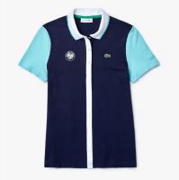 Damskie polo Lacoste Women's SPORT Roland Garros Colourblock Cotton Polo Shirt - navy blue/turq