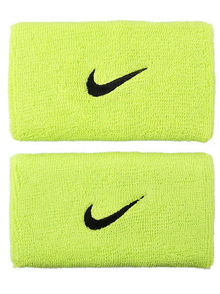 Frotki Tenisowe na nadgarstki Nike Swoosh Double-Wide Wristbands - atomic green/black