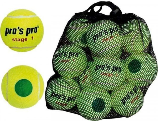 Juunioride tennisepallid Pro's Pro Stage 1 with green point 12B