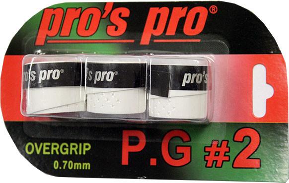 Owijki tenisowe Pro's Pro P.G. 2 (3 szt.) - white