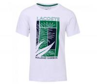 Męski T-Shirt Lacoste Men's SPORT Roland Garros Plant Print T-shirt - white/green/navy blue