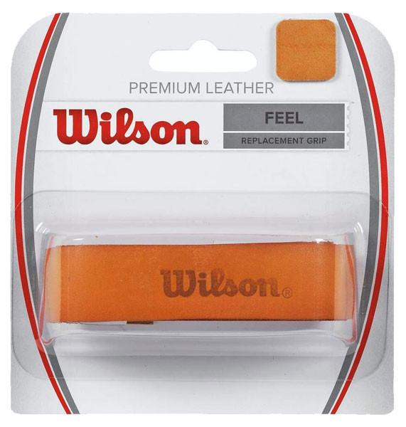 Owijki tenisowe bazowe Wilson Premium Leather orange 1P