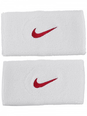 Nike Swoosh Double-Wide Wristbands - white/varsity red