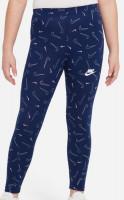Spodnie dziewczęce Nike Sportswear Favorites AOP Legging - blue void/white