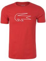 Męski T-Shirt Lacoste Men's  SPORT Novak Djokovic Crocodile Print T-shirt - red/white
