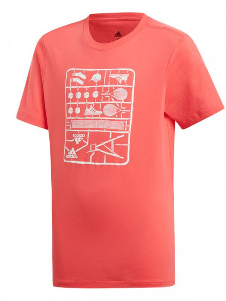 Koszulka chłopięca Adidas Kids GraphicTee - shock red