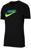 Męski T-Shirt Nike Court Tennis Graphic - black/volt/neo turq