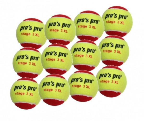 Teniso kamuoliukai pradedantiesiems Pro's Pro Stage 3 XL - (12 vnt.)