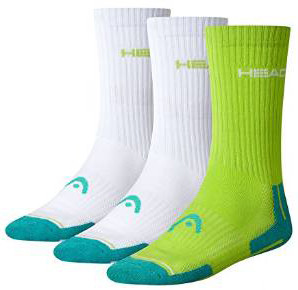 Čarape za tenis Head Performance Crew - 3 pary/lime/green/white