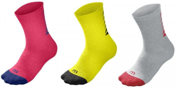 Teniso kojinės Wilson Youth Season Core Crew Sock 3pr/pk - 3 pary/neon red/safety yellow/grey heather