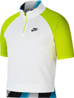 Męskie polo tenisowe Nike Court Slam Polo NY - white/hot lime/neo teal/black