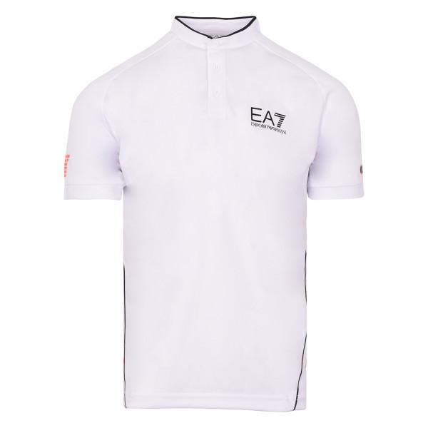 Tenisa polo krekls vīriešiem EA7 Man Jersey Jumper - white
