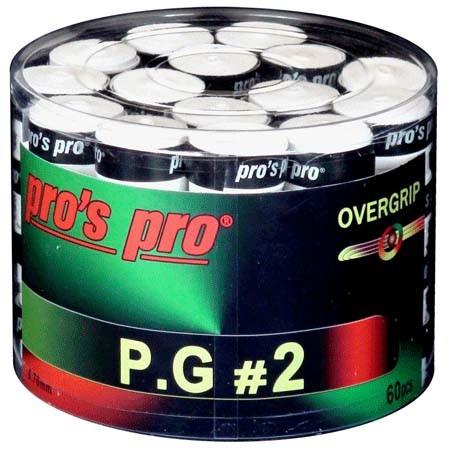 Owijki tenisowe Pro's Pro P.G. 2 60P - white