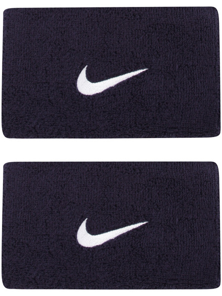 Aproces Nike Swoosh Double-Wide Wristbands - obsidian/white
