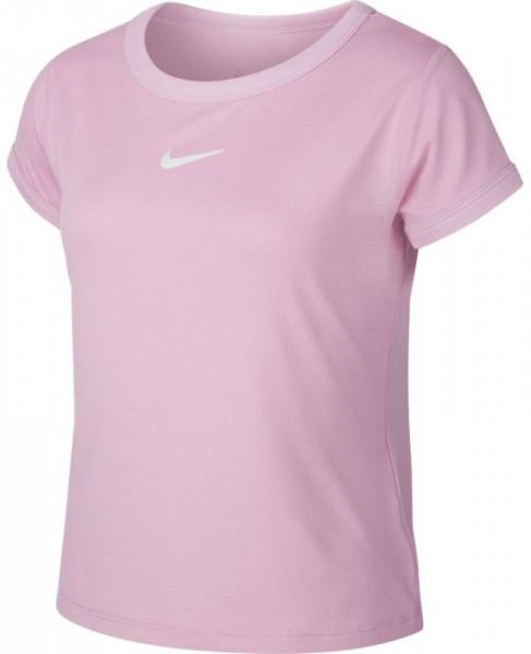 Koszulka dziewczęca Nike Court G Dry Top SS - pink rise/white