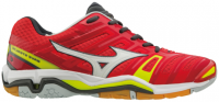 Buty do squasha Mizuno Wave Stealth 4 - mars red/white/safety yellow