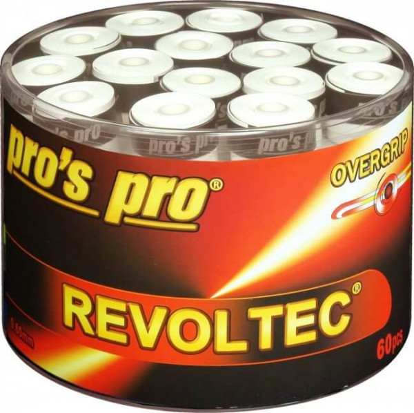 Owijki tenisowe Pro's Pro Revoltec 60P - white