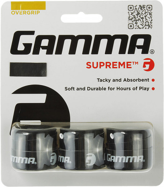 Owijki tenisowe Gamma Supreme (3 szt.) - black