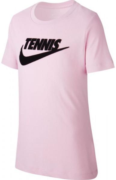 Koszulka chłopięca Nike Court SS Tee DFC Tennis GFX - pink rise/black