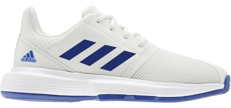 Juniorskie buty tenisowe Adidas CourtJam xJ - white/royal blue/white