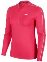 Damski T-shirt (dł. rękaw) Nike Court Women Dry 1/2 Zip Top - vivid pink/white/white/white