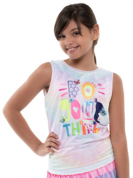 Koszulka dziewczęca Lucky in Love Novelty Print Crafty Scribble Tie Back Tank Girls - multicolor