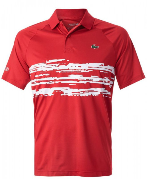 Lacoste Men's SPORT Novak Djokovic Stretch Print Jersey Polo - red/white