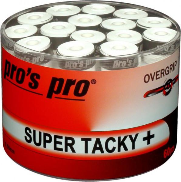 Owijki tenisowe Pro's Pro Super Tacky Plus (60 szt.) - white