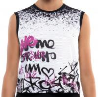 Tenisa tops sievietēm Lucky in Love City Graffiti All City High Low Tank Women - passion pink