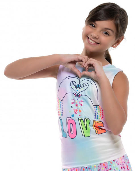 Marškinėliai mergaitėms Lucky in Love Novelty Print Animoji Love Tie Back Tank Girls - multicolor