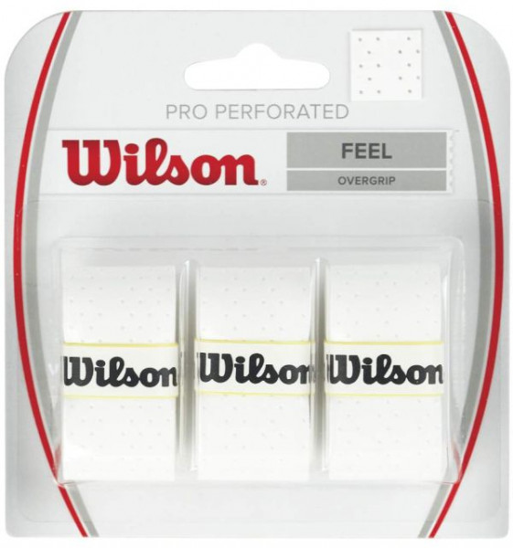 Owijki tenisowe Wilson Pro Perforated 3P - white