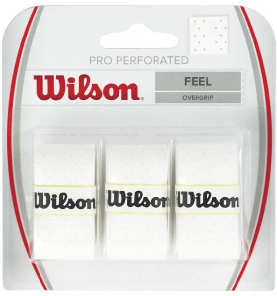 Tenisa overgripu Wilson Pro Perforated 3P - white