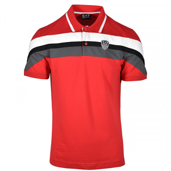 Muški teniski polo EA7 Man Jersey Polo Shirt - tango red