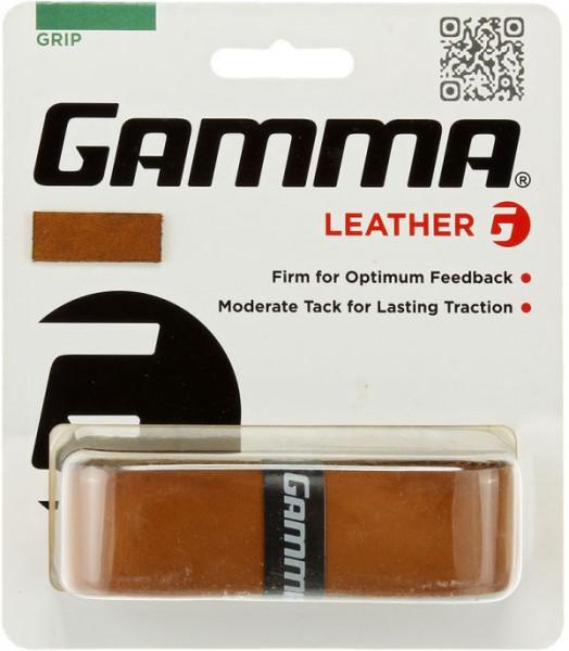 Owijki tenisowe bazowe Gamma Leather Grip 1P - brown