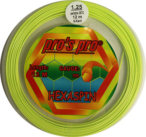 Tenisa stīgas Pro's Pro Hexaspin (12 m) - lime