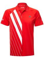 Męskie polo tenisowe Lacoste Men's SPORT Novak Djokovic Print Jersey Polo - red/white