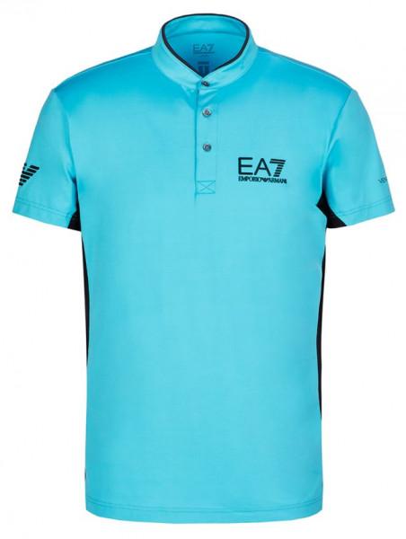 Tenisa polo krekls vīriešiem EA7 Man Jersey Jumper - blue curacao