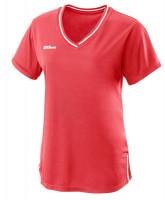 Marškinėliai moterims Wilson Team II V-Neck W - fiery cotal