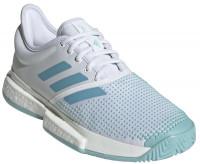 Damskie buty tenisowe Adidas SoleCourt Boost W x Parley - white/vapour blue/blue spirit