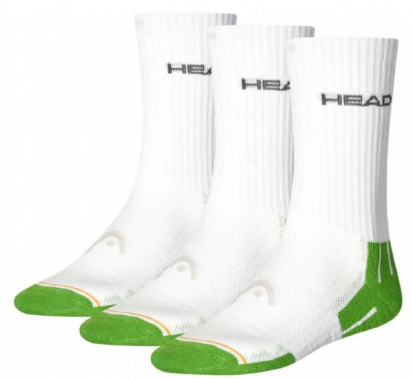 Tennisesokid  Head Performance Crew - 3 pary/white/green combo