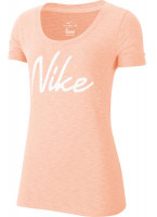Damski T-shirt Nike Dri-Fit Women Scoop Logo Tee - washed coral/heather/white