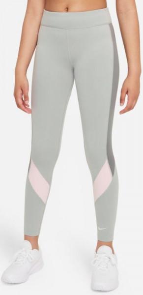 Spodnie dziewczęce Nike Dri-Fit One Legging G - light smoke grey/pink foam/smoke grey/white