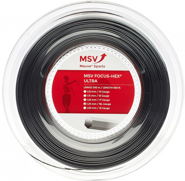 Tennis String MSV Focus Hex Ultra (200 m) - black