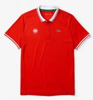 Męskie polo tenisowe Lacoste Men's SPORT Roland Garros Breathable Piqué Polo Shirt - red/white/green